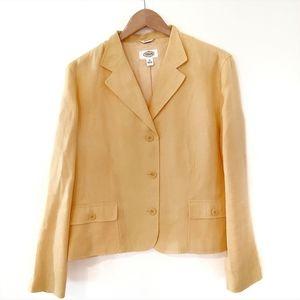Talbots Irish Linen Yellow Blazer Jacket size 14